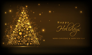 Shiny golden christmas tree and stylish text of Happy Holidays