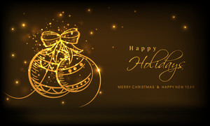 Shiny golden balls and stylish text of Happy Holidays
