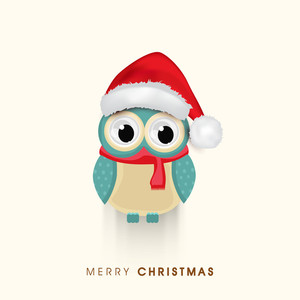 Celebration of Christmas Day with owl wearing Santa's cap and stylish Merry Christmas text on beige background.