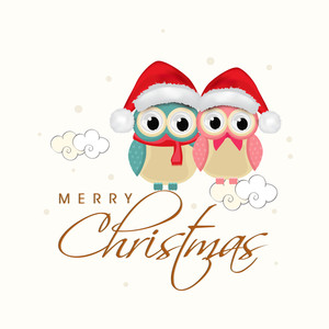Beautiful poster for Christmas with owls wearing santa's cap and stylish text of Merry Christmas.
