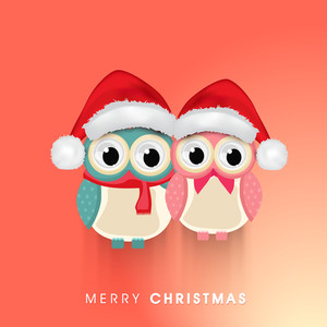 Beautiful poster for Christmas with owls wearing santa's cap and stylish text of Merry Christmas on light red background.