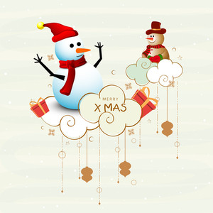 Christmas Day celebration with snowman wearing cap and stylish text of Merry X Mas.