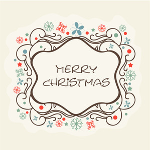 Beautiful floral decorated frame with stylish text of Merry Christmas.