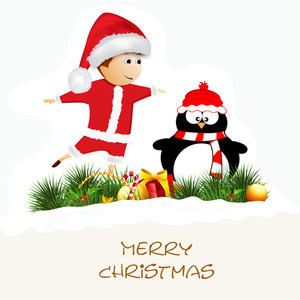 Cute boy in Santa Clause outfits with penguine