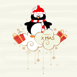 Cute penguine wearing cap and scarf with text of Merry X mas on stylish background.
