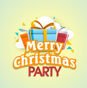 Poster of Merry Christmas Party with gift boxes on dotted background.