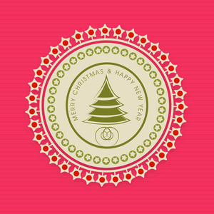 Tag or sticker for Merry Christmas and Happy New Year on linen background.
