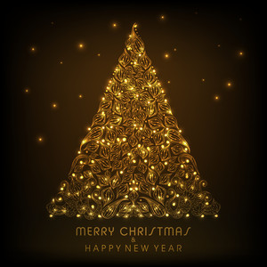 Shiny golden floral decorated Christmas tree with stylish text of Merry Christmas and Happy New Year on brown background.