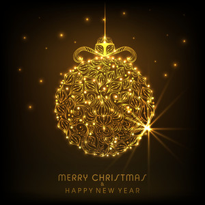 Shiny golden Christmas ball with stylish text of Merry Christmas and Happy New Year on brown background.