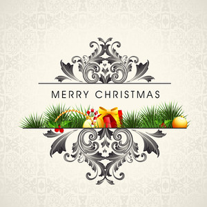 Beautiful card of Christmas with gifts  and stylish wishing text on floral decorated background.