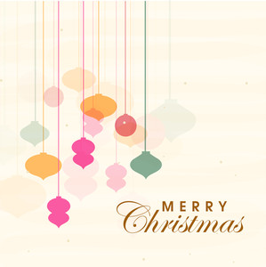 Beautiful poster of Merry Christmas with hanging balls on stylish background.