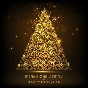 Shiny golden Christmas tree with stylish text of Merry Christmas and Happy New Year on brown background.