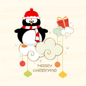Cute penguine wearing cap and scarf with text of Merry  Christmas on stylish background.