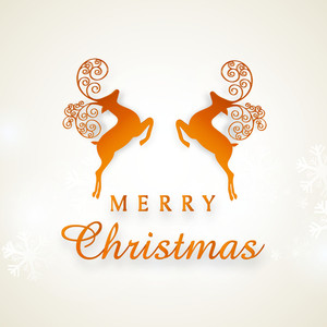 Beautiful poster or banner with silhouette of reindeer and stylish text of Merry Christmas.