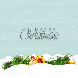 Beautiful poster with gifts in snow and stylish text of Merry Christmas blue background with snowflakes.