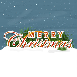 Beautiful poster of Merry Christmas with snow on blue background.