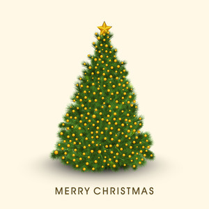 Beautiful Christmas tree decorated with golden balls and star with stylish text of Merry Christmas.