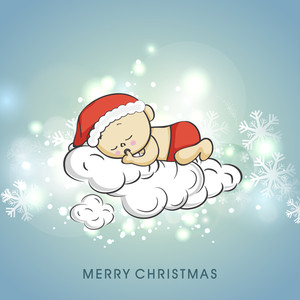 Cute kid sleeping on clouds with stylish text of Merry Christmas on shiny blue background with snowflakes.
