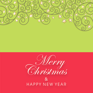 Greeting card for Merry Christmas and Happy New Year with floral decoration and star.