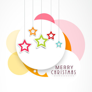 Beautiful poster of Merry Christmas with colourful hanging stars on stylish background.