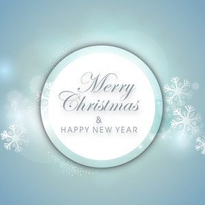 Shiny tag for Merry Christmas and Happy New year on light blue background with snowflakes.