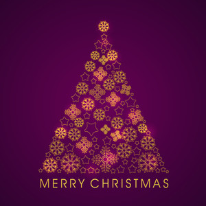 Merry Christmas poster with decorated tree and stylish text on purple background.
