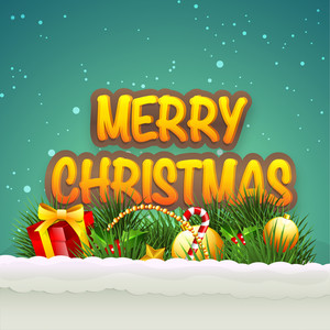 Beautiful poster of Merry Christmas with snow on sea green background.