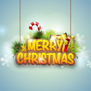 Stylish poster with hanging text of Merry Christmas on sky blue background with snowflakes.