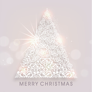 Merry Christmas poster with floral decorated sparkling holly tree and stylish text.