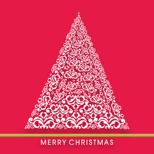 Merry Christmas poster with floral decorated tree and stylish text on red background.