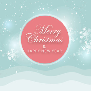 Stylish tag for Merry Christmas and Happy New year on light blue background with snowflakes.