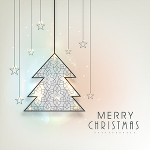 Merry Christmas poster with hanging holly tree and stars on stylish background.