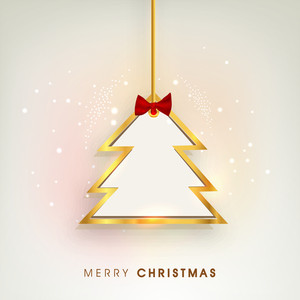 Merry Christmas poster with hanging holly tree decorated with golden outline on stylish background.