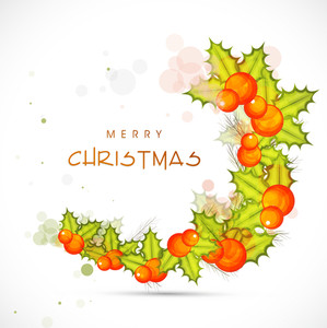 Merry Christmas poster with green leaves and christmas balls on stylish background.