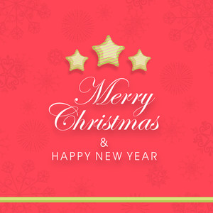 Stylish poster of Merry Christmas and Happy New Year with stars on floral decorated background.