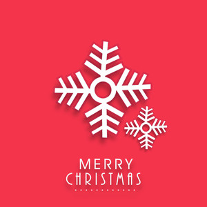 Merry Christmas poster with snowflake and stylish text on red background.