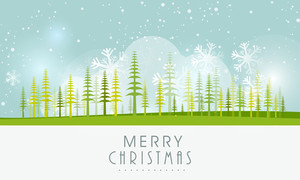Stylish poster of Merry Christmas with holly trees and snowflakes on sky blue background.