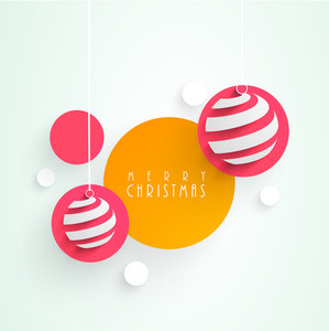 Tag and sticker for Merry Christmas with hanging balls on stylish light blue background.