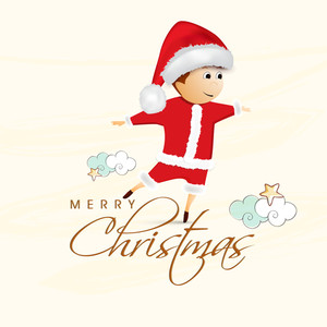Poster of Merry Christmas with a boy in Santa's dress and stylish text in beige backgound with snow.