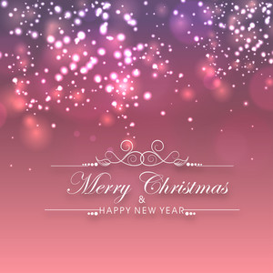 Beautiful poster of Merry Christmas and Happy New Year on sparkling pink background.