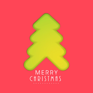 Green holly tree design with stylish text of Merry Christmas on light red background.