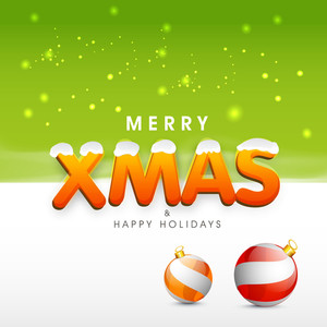 Stylish text of Merry X Mas and Happy Holidays with decoration balls on green background.