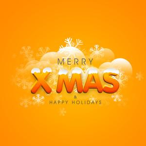 Stylish text of Merry X Mas and Happy Holidays with snowflakes on stylish orange background.