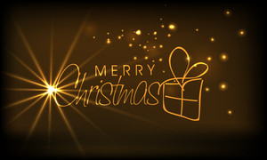 Christmas festival celebration with shiny golden text of Merry Christmas on stylish brown background.