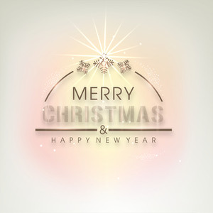Poster for celebration of Merry Christmas and Happy New Year on stylish background.