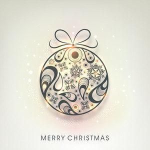 Poster for celebration of Merry Christmas with decorated ball on stylish background.