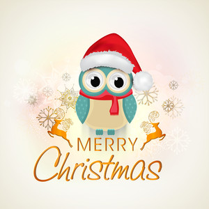 Christmas celebration with an owl wearing Santa's cap with silhouette of reindeer