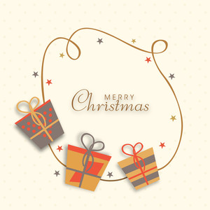 Christmas celebration in kiddish style with gift boxes and stylish wishing text on dotted background.