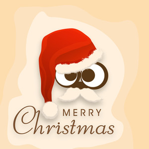 Funny face with big eyes and moustache wearing Santa's cap and stylish text of Merry Christmas on light orange background.