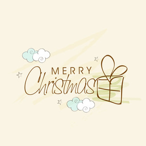 Christmas celebration in kiddish style with gift box and stylish wishing text on beige background.